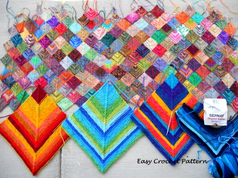 Easy Crochet Pattern: Big Knit Mitered Squares