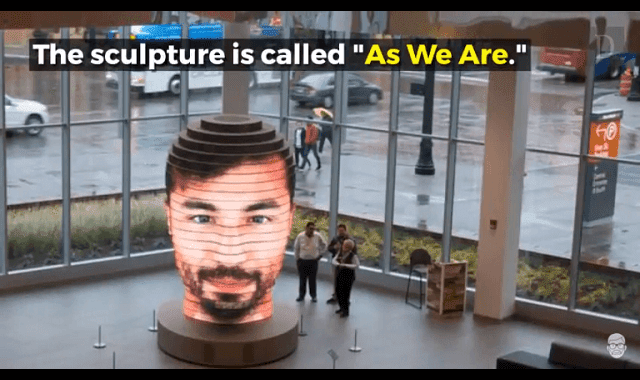 "Matthew Mohr's latest interactive sculpture, ""As We Are"", displays your face by taking a selfie"