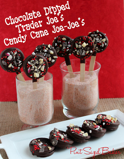 I think that these Chocolate Dipped Candy Cane Joe-Joe's are so easy to make but taste so yummy! I love the peppermint with the chocolate!
