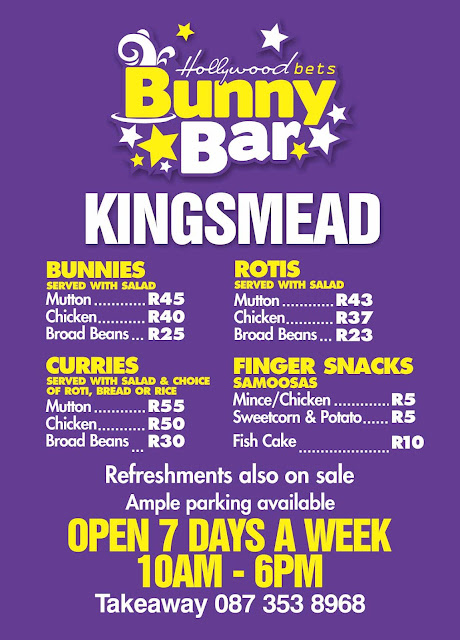 Bunny Bar at Kingsmead - Hollywood - Menu