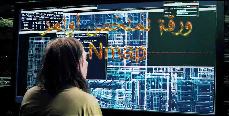 جميع اوامر الفحص بالانماب nmap في ورقة   nmap-mindmap