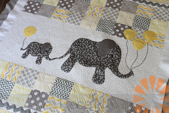 Piece N Quilt Baby Elephant Quilt Custom Machine Quilting By
