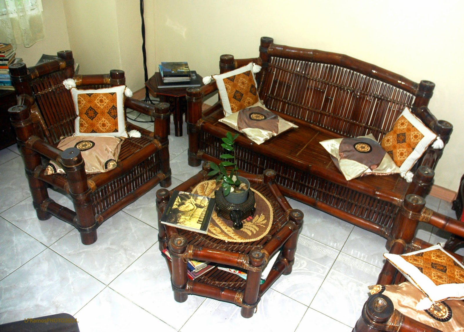 A Furniture Set Made Of Bamboo.