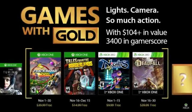 List of the free games announced for November 2017 for Xbox Live Gold Subscribers