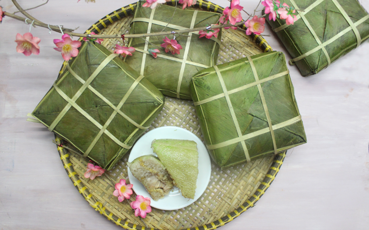 Banh Chung Delicious Traditional Vietnamese Food In During Tet