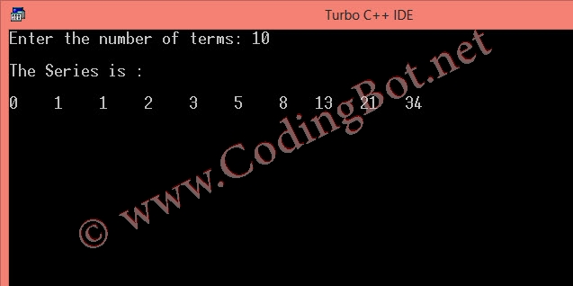 C Program To Generate Fibonacci Series