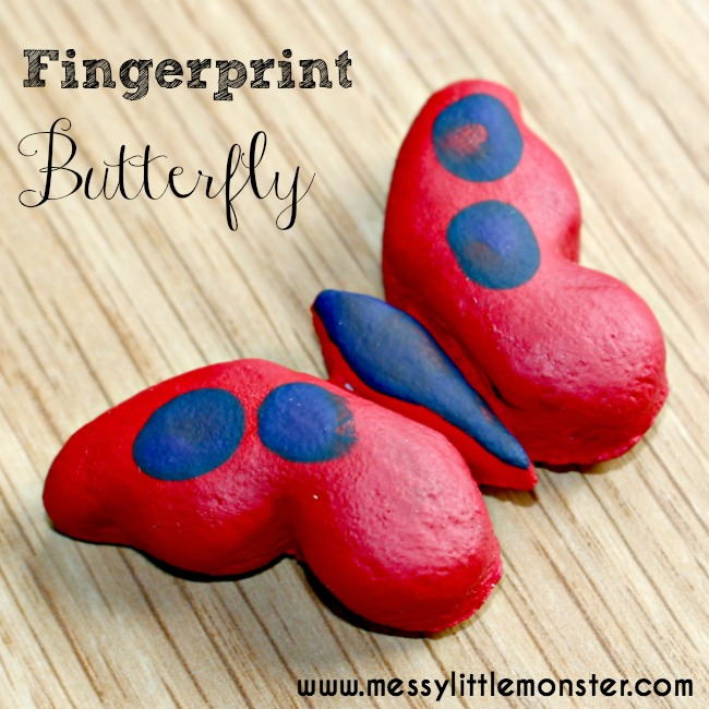 Fingerprint butterfly magnet keepsake.  A simple salt dough craft for kids. Easy enough for toddlers and preschoolers and a fun summer or spring activity.