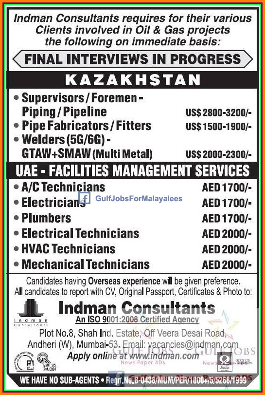 Oil & Gas jobs for Kazakhstan & UAE - Gulf Jobs for Malayalees