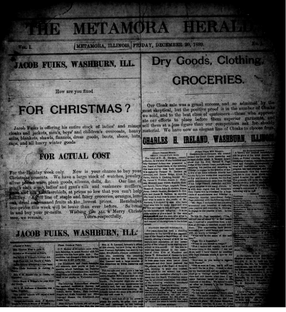 First Ever Issue of the Metamora Herald, Metamora Herald
