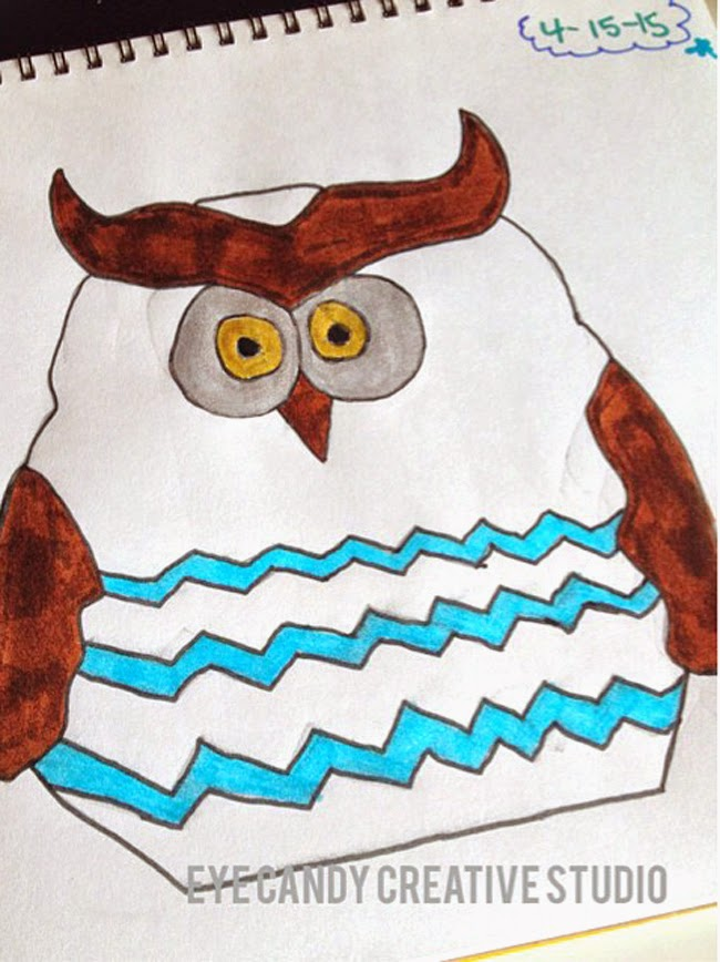 chevron owl, kids illustation, kids artwork, birthday invite art, hand drawn