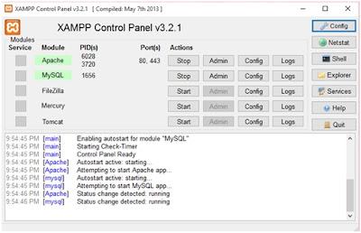 Tampilan Xampp Control Panel