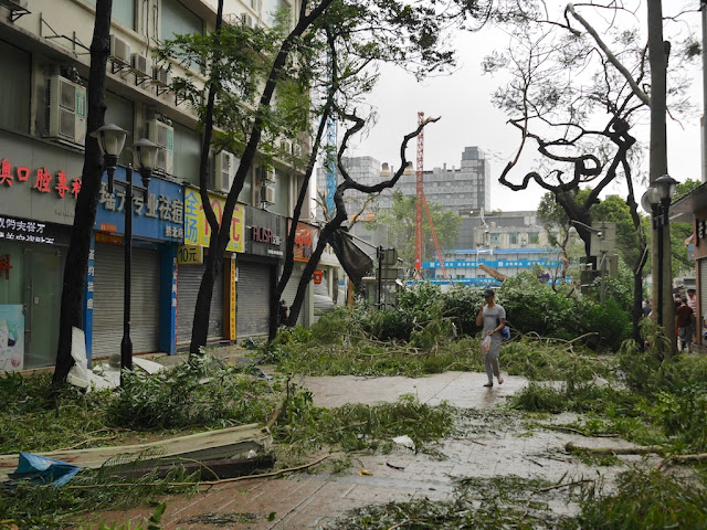 "damage from Typhoon Hato (台风""天鸽"") at the Lianhua Road Pedestrian Street (莲花路步行街) in Zhuhai, China"