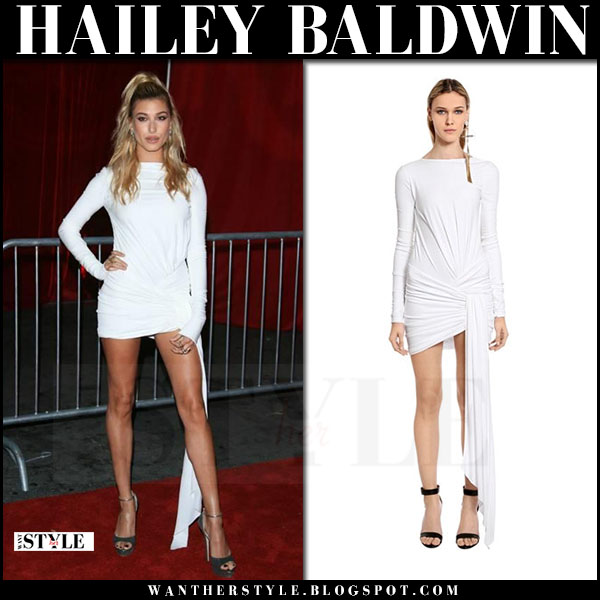 Hailey Baldwin in white draped mini dress alexandre vauthier what she wore june 24 2017 maxim 100 party
