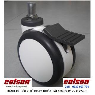 Bánh xe giường bệnh y tế Colson phi 125 có khóa | CPT-5854-85BRK4 www.banhxepu.net
