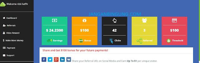Website Reward dengan bayaran terbesar!! 1 Klik bisa Sampai 1 Dollar