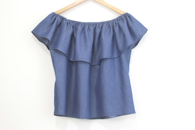 diy patrones camiseta denim sin hombros mujer