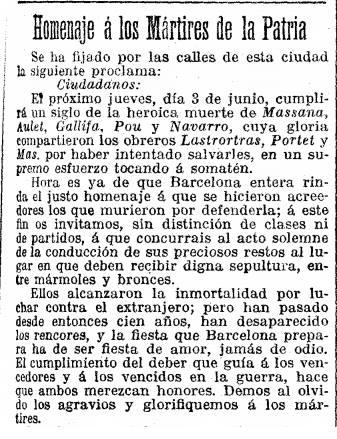 Homenaje á los Mártires de la Patria. La Vanguardia Española, 3 de junio 1909. Golden Jacob.