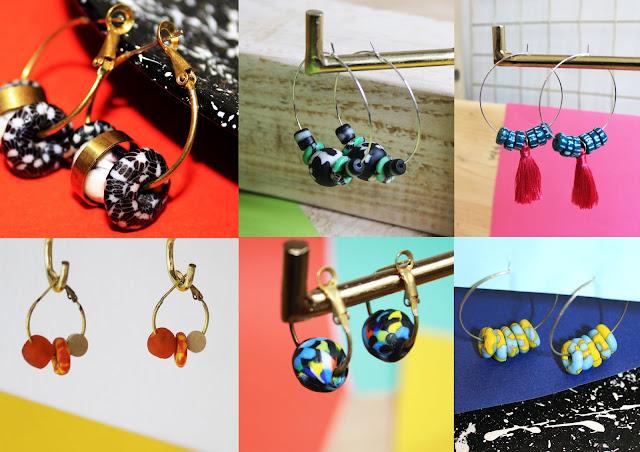 recycled glass jewellery, Ghanaian bead earrings, Krobo bead earrings, ethically made earrings, ethical glass earrings