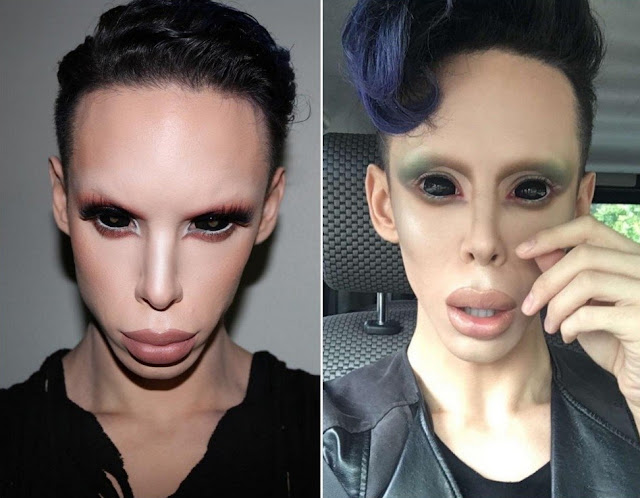 man turns self into human alien