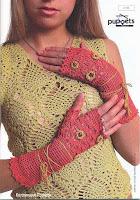 Luvas sem dedos de crochê para mulheres