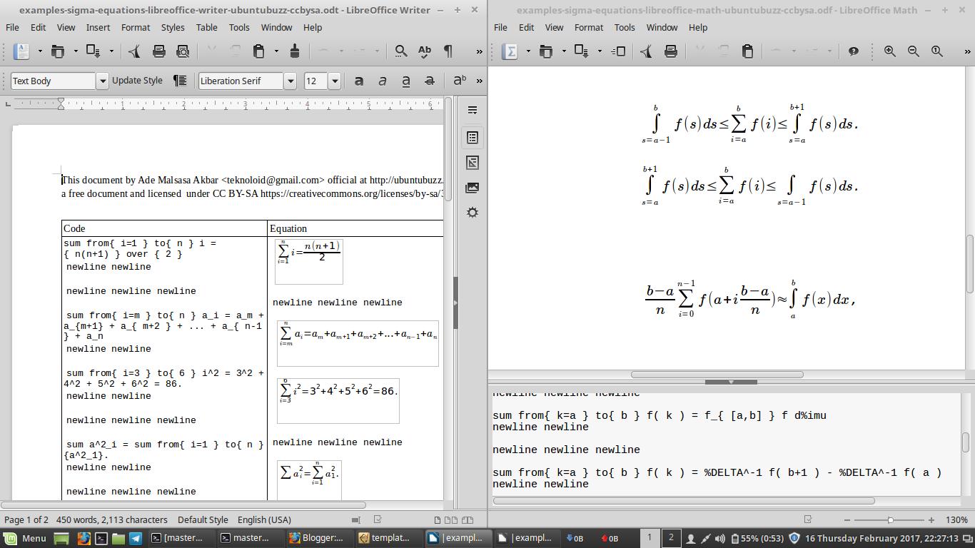 Ubuntu Buzz !: LibreOffice Math: Sigma Equation Examples