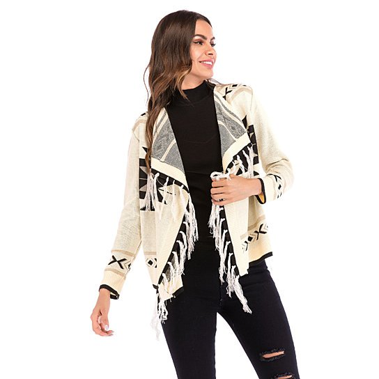 Geometric tassel color block long sleeve shawl knit jacket