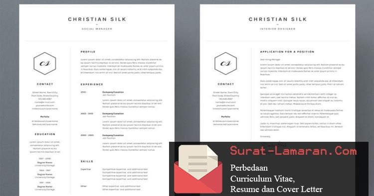 perbedaan curriculum vitae  resume dan cover letter