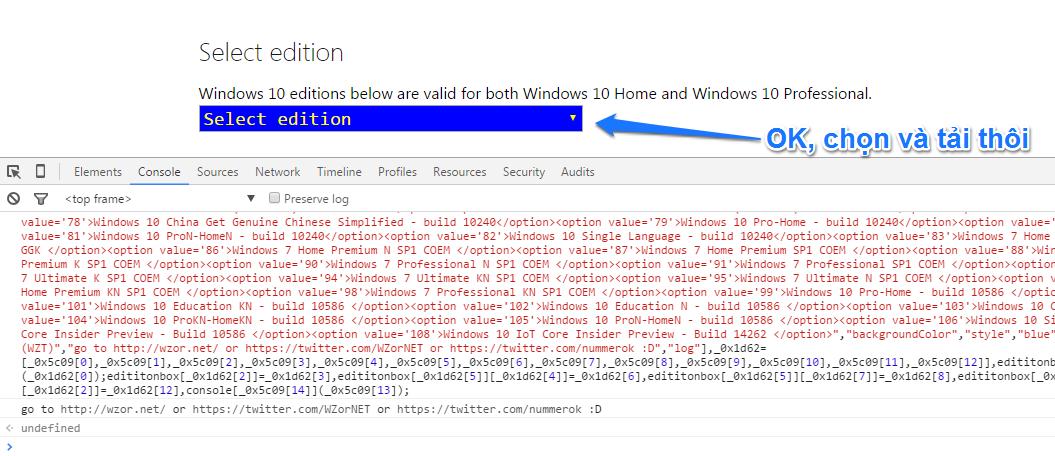 Hướng dẫn tải ISO Windows 10, 8.1, 8 , 7 chính thức Microsoft trên trình duyệt