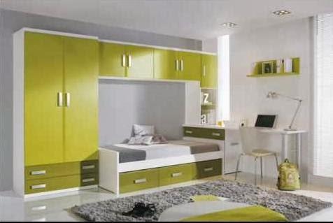 Habitación juvenil gris y verde