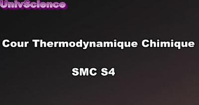 Cours Thermodynamique Chimique SMC S4 PDF
