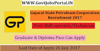 Gujarat State Petroleum Corporation Recruitment 2017– 22 Shift Manager, Shift operator/Technician