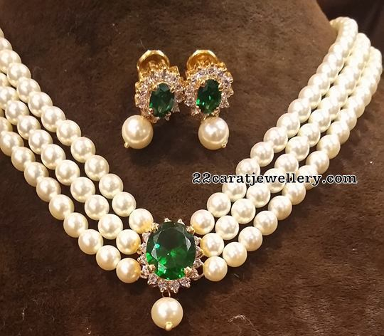 Three Layer Pearls Set Emerald Drops Studs