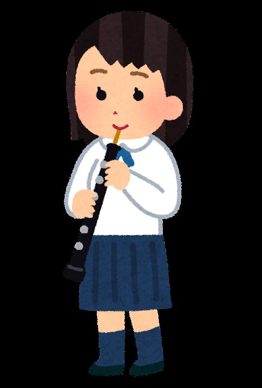 オーボエを演奏する女子学生のイラスト吹奏楽 かわいいフリー素材