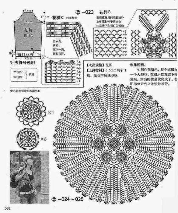 Chaleco con ganchillo con diseño circular - con diagrama y patrones ...