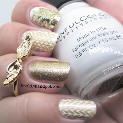 sweater knitted patter stamped gold and white nail art