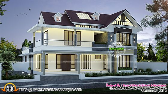 Cute dormer window house plan, Kerala