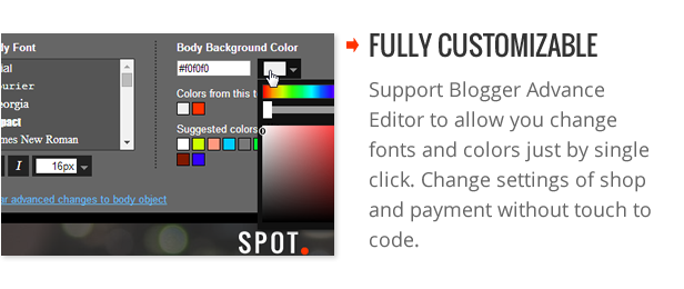 Fully Customizable - SpotCommerce Blogger Shopping Template