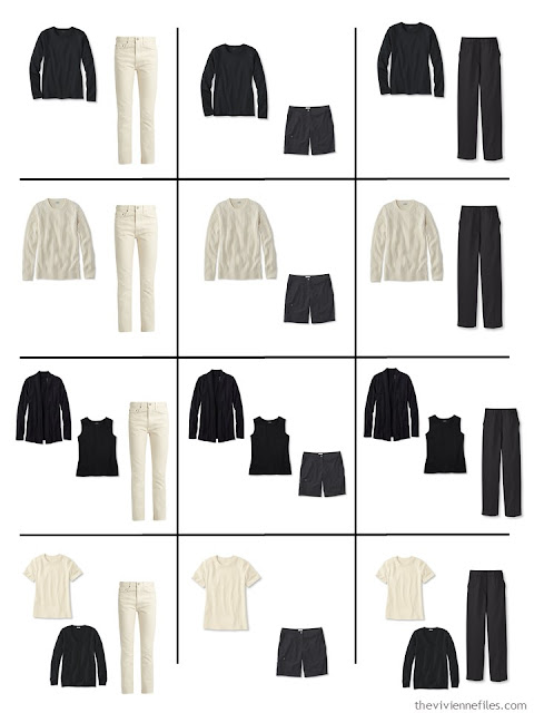 a dozen outfits you can assemble from 9 wardrobe Neutral Building Blocks