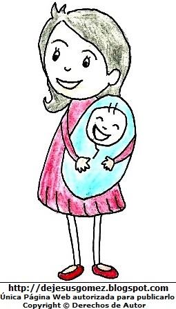Dibujo Madre con su bebé dibujado y pintado a mano. Dibujo hecho por Jesús Gómez
