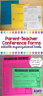 editable parent-teacher conference forms and organizational tools pin