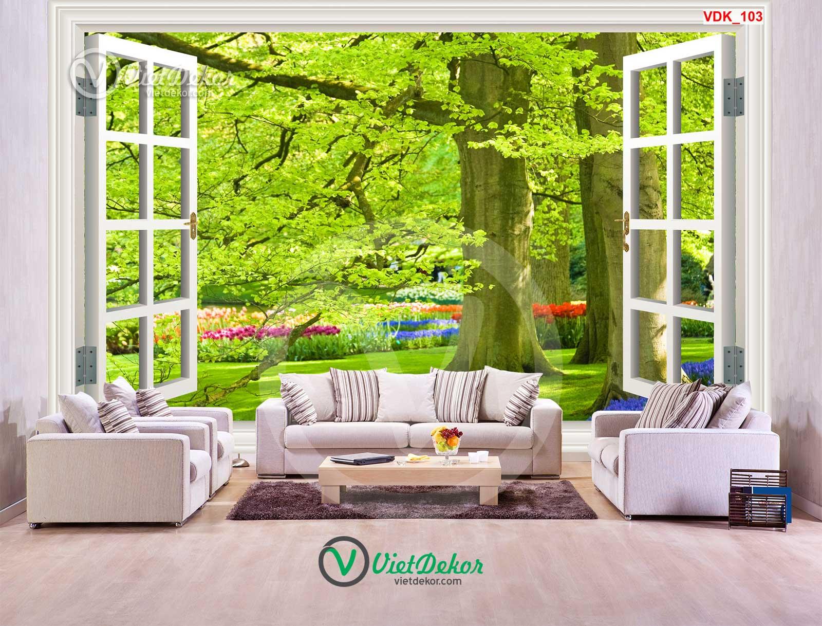 Tranh dán tường 3d cửa sổ phong cảnh rừng cây lớn