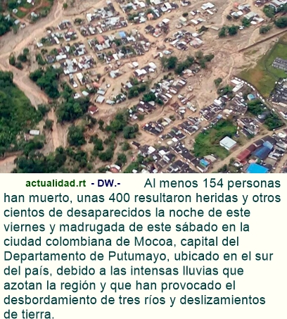 Más de 150 muertos, cientos de heridos y desaparecidos por desbordamiento de ríos en Colombia