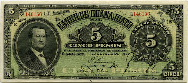 currency Mexico 5 Peso Bill