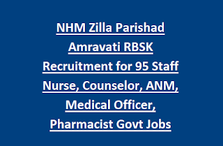 NHM Zilla Parishad Amravati RBSK Recruitment for 105 Staff Nurse, Counselor, ANM, Medical Officer, Pharmacist Govt Jobs Walk Interview
