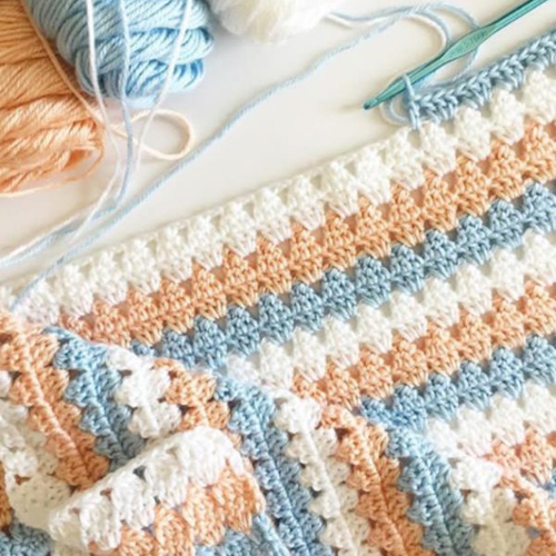 Modern Peach & Blue Granny Blanket - Free Pattern
