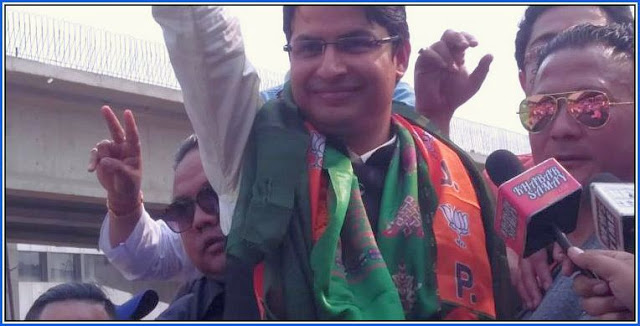 Raju Bista BJP candidate for Darjeeling Loksabha seat arrived at Bagdogra
