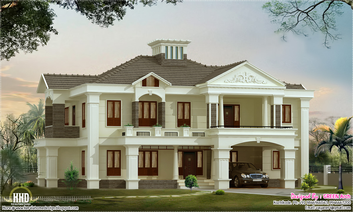 4 bedroom luxury home design kerala home design and for Colonial style home design in kerala