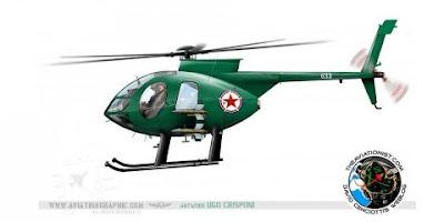 www.fertilmente.com.br - MD500E ou Hughes 500E é um tradicional modelo de Helicoptero Estado Unidense que foi contrabandeado para a Coreia do Norte