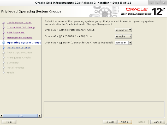 Oracle 12c grid infrastructure installation wizard screen 6