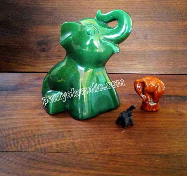 Gorgeous Babe Elephant, Emerald Green Calf Ceramic Money Box, from mid century, produced by St Clement Pottery in France